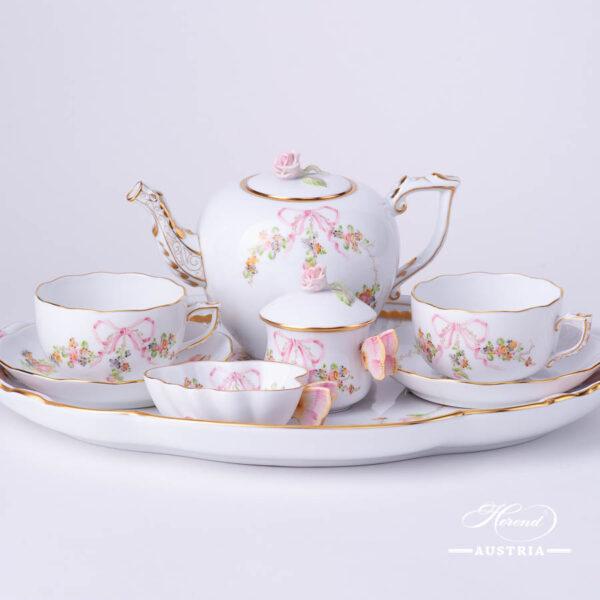Tea Set for 2 People - Herend Eden Pink - EDENP pattern. Herend fine china