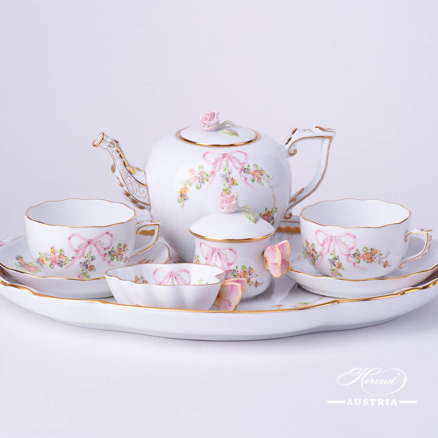 Tea Set for 2 People - Herend Eden Pink - EDENP pattern. Herend fine china