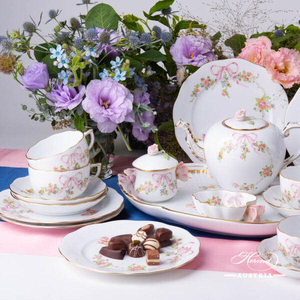 Tea Set for 6 People w. Dessert Plate - Herend Eden Pink - EDENP pattern. Herend fine china