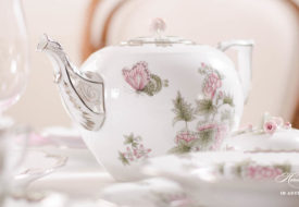Herend porcelain Victoria Platinum teapot with butterfly.
