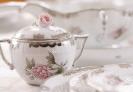 Herend porcelain Victoria Platinum sugar basin with rose knob.