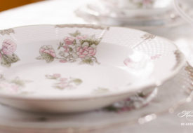 Herend porcelain Victoria Platinum soup plate closeup with butterfly.