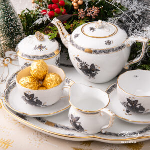 Tea Set for Two Person – Chinese Bouquet Black