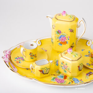 Espresso Set for Two Person – Queen Victoria on Yellow Background
