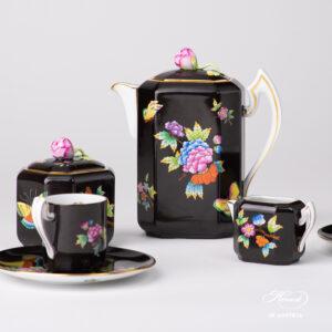 Espresso Set for Two Person – Queen Victoria on Black Background